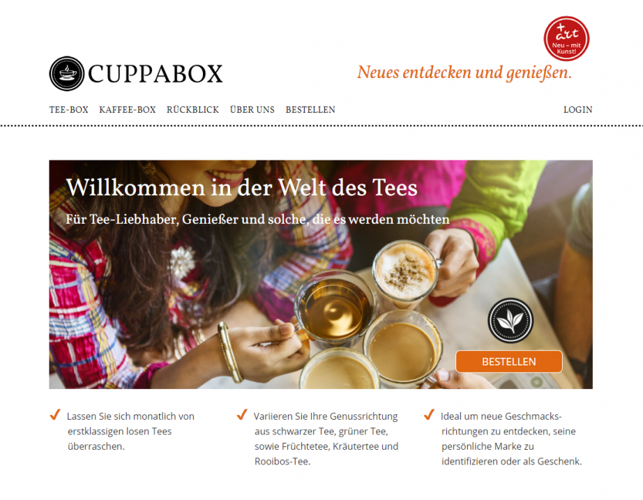 Cuppabox Tee Website Screenshot