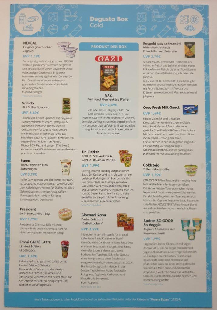 Degusta Cold Box 1 - 2021 - Produktübersicht